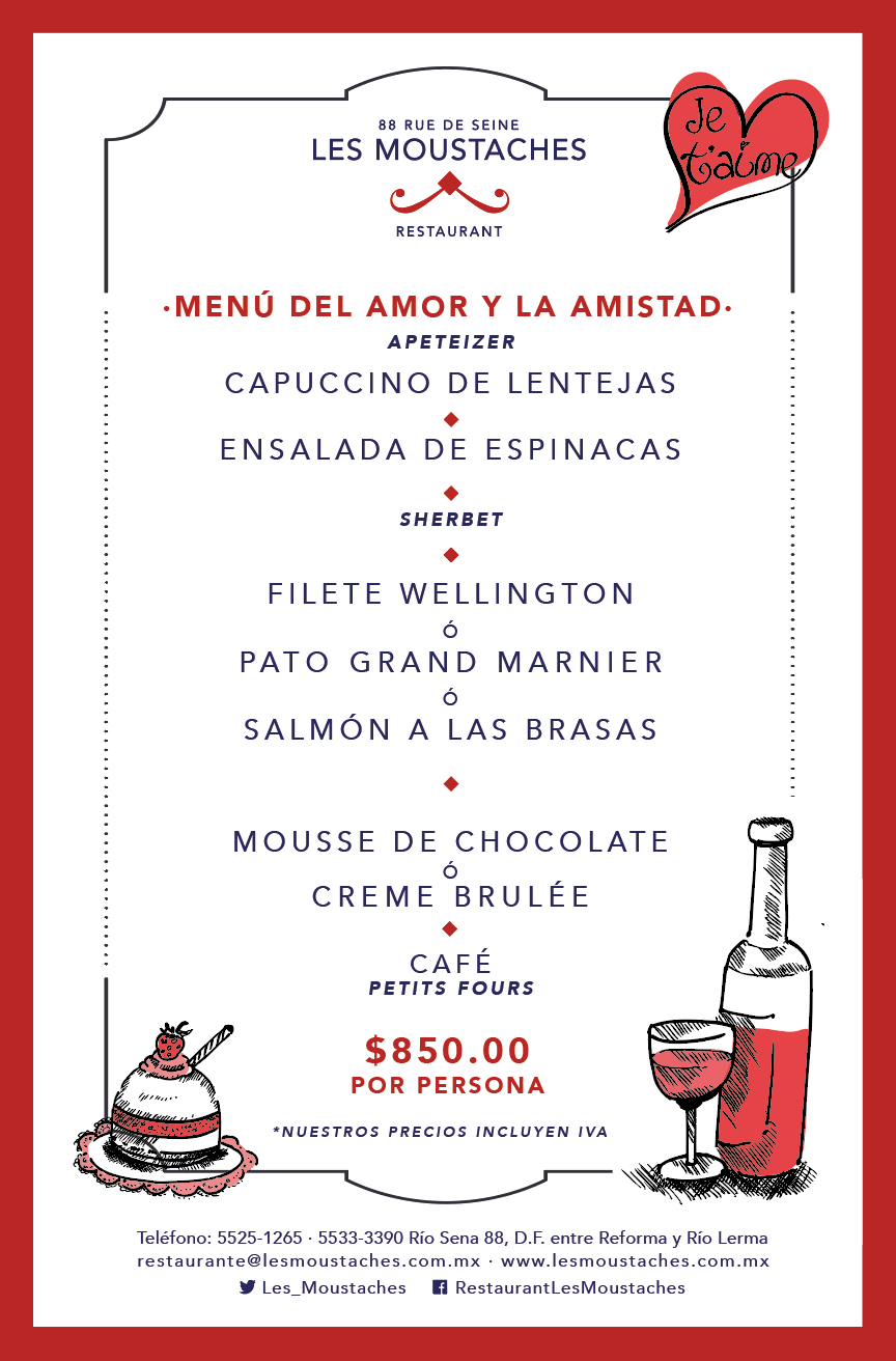 Menu 14 de Febrero Les Moustaches